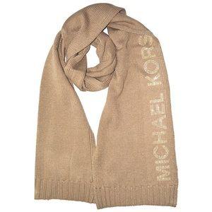 {Michael Kors} Beige Knit Scarf, Studded Logo